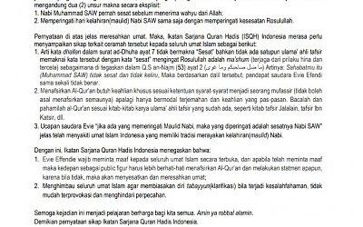 Isqh Indonesia Tanggapi Pernyataan Evie Effendi Tentang