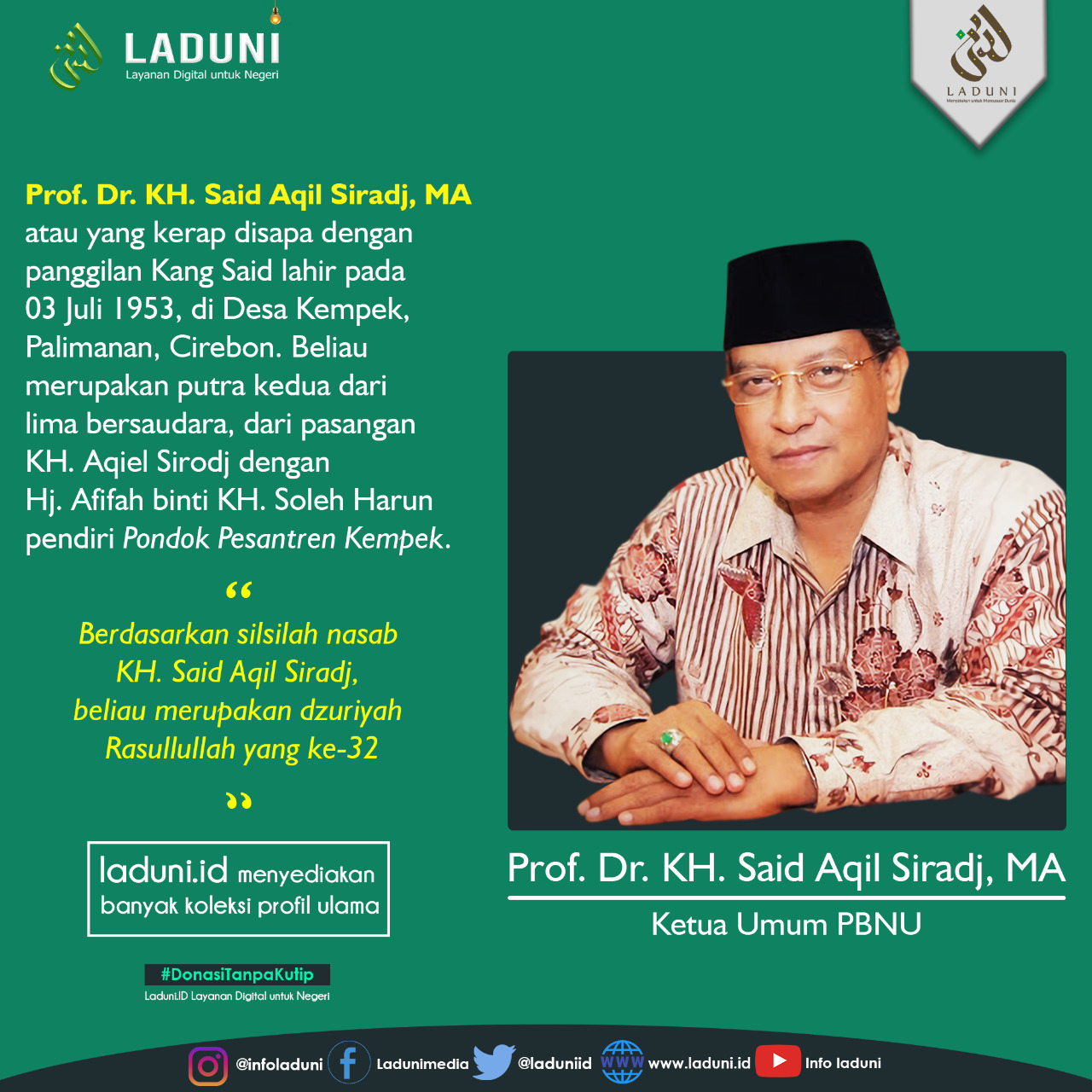 Biography of Prof. Dr. KH. Said Aqil Sirodj