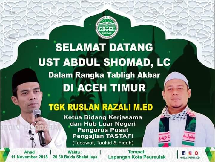 11 November Ustaz Abdul Somad Tabligh Akbar di Kota Peureulak