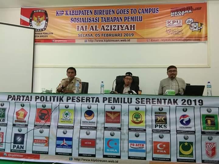 Antusiasnya Mahasiswa IAI Al-Aziziyah Samalanga Mengikuti Sosialisasi Tahapan Pemilu KIP Bireuen