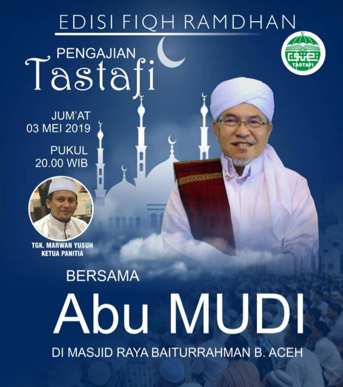 Al-Mursyid Abu MUDI Isi Pengajian Tastafi Menjelang Ramadhan di Masjid Raya Baiturrahman