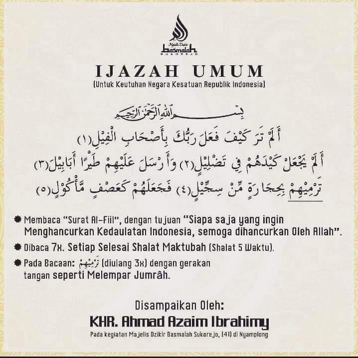 Ijazah Surat Al Fil untuk Keutuhan NKRI dari KHR Ahmad Azaim Ibrahimy