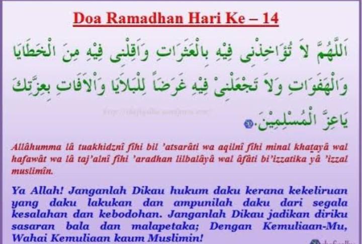Doa Puasa Ramadhan Hari ke-14 dan Hikmahnya
