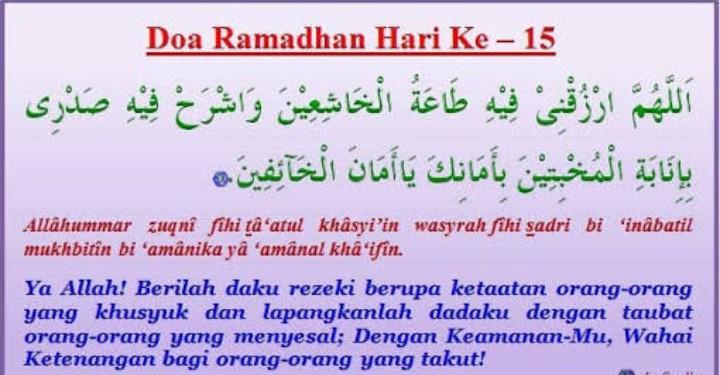 Doa Puasa Hari ke-15 Ramadhan dan Hikmahnya