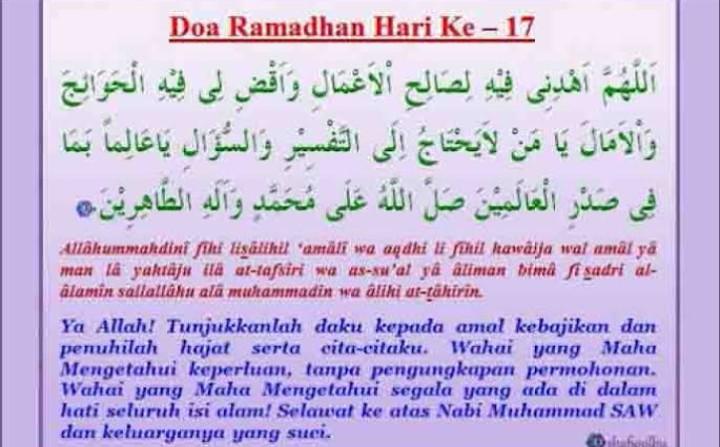 Doa Hari ke-17 Puasa Ramadhan dan Hikmahnya