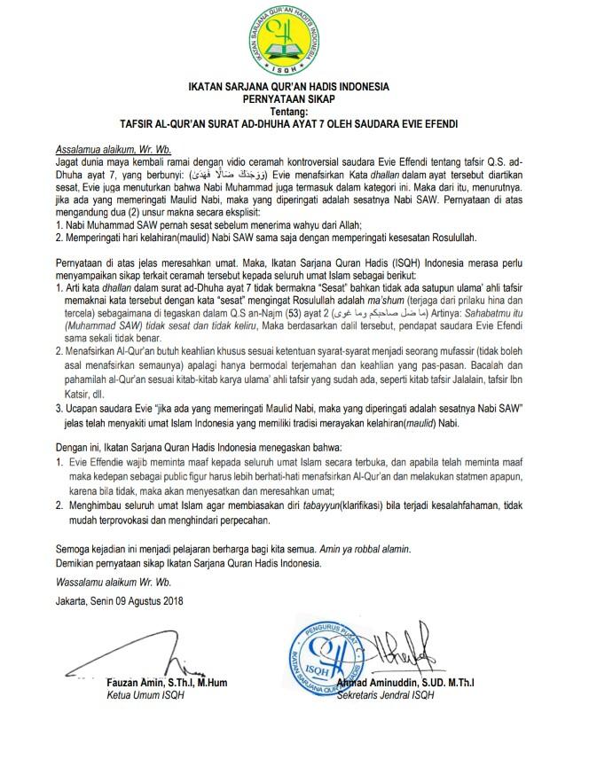 Gambar Isqh Indonesia Tanggapi Pernyataan Evie Effendi