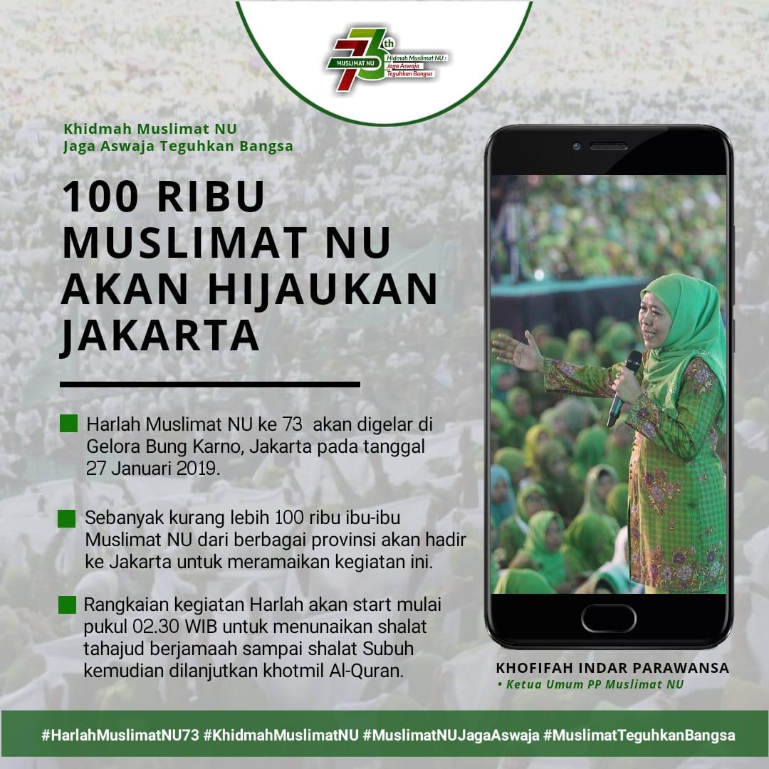 100 Ribu Muslimat NU akan Hijaukan Jakarta di Harla ke-73